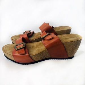 Taos Wedge Sandals Burnt Orange Size 8/8.5